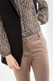 Solid colour stretch chino trousers, Beige, hi-res