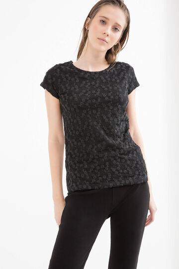 Viscose blend floral T-shirt, Black, hi-res