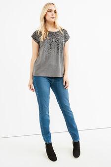 Curvy T-shirt with print and diamantés, Grey Marl, hi-res