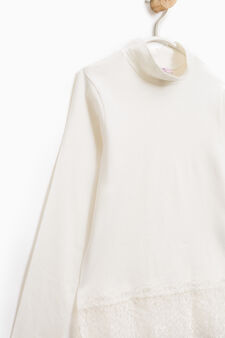 Stretch cotton T-shirt with lace, White, hi-res