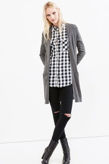 Long cardigan without buttons, Dark Grey Marl, hi-res