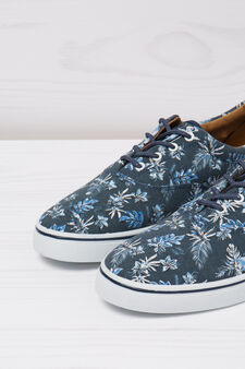 Sneakers with floral pattern, Navy Blue, hi-res