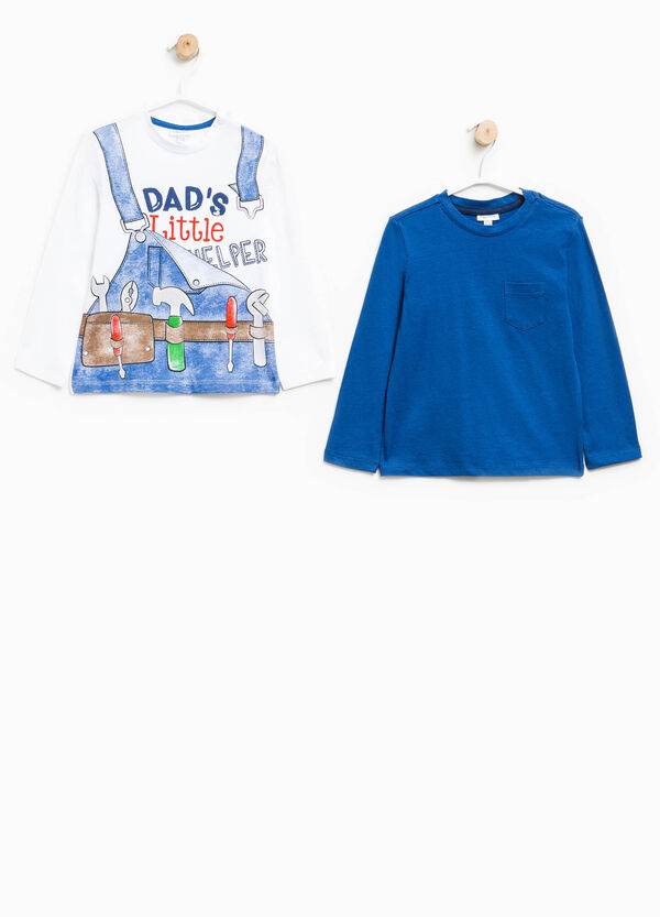 Set due t-shirt con taschino e stampa | OVS