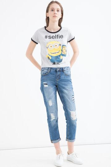 Minions print cotton T-shirt, Grey Marl, hi-res