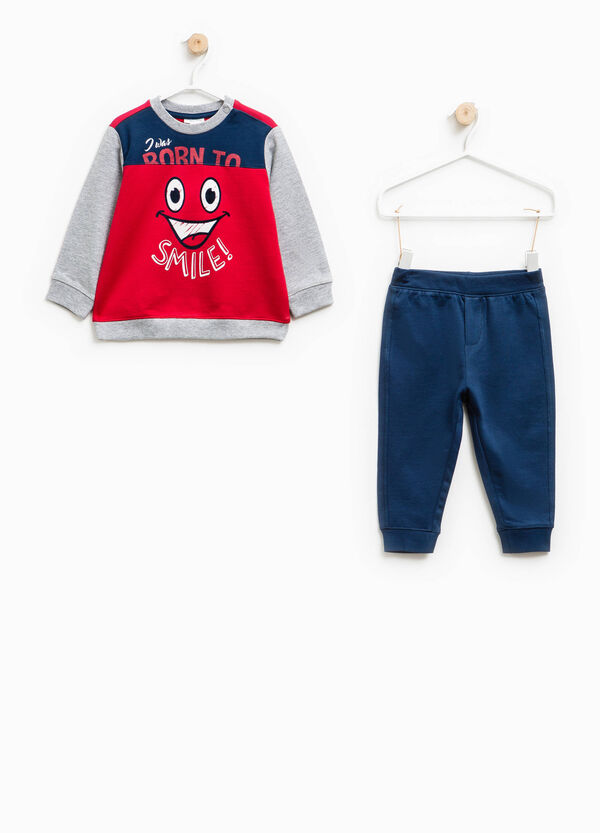 Cotton tracksuit with contrasting inserts | OVS