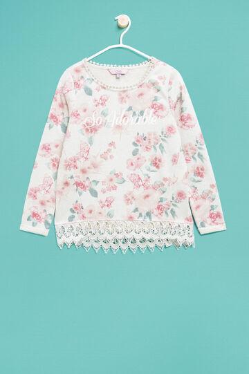 Floral sweatshirt in cotton and lurex, Multicolour, hi-res