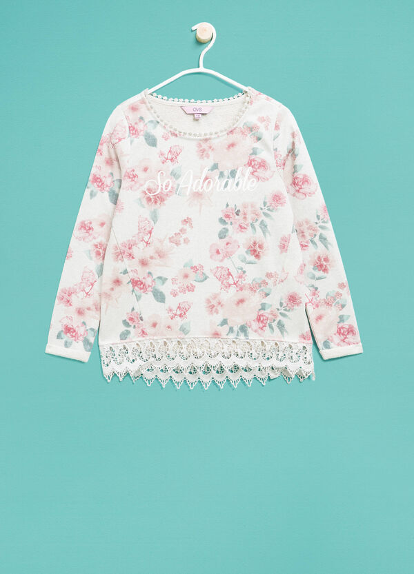 Floral sweatshirt in cotton and lurex | OVS