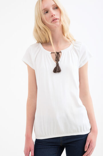 100% cotton T-shirt with tassels, White, hi-res
