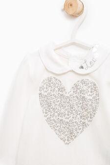 Body cotone stretch stampa glitter, Bianco latte, hi-res