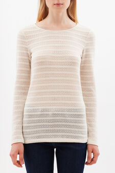 T-shirt with semi-sheer sections, Natural, hi-res