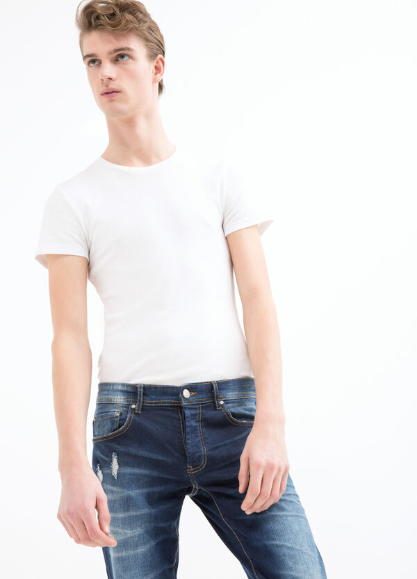 Slim fit stretch jeans with whiskering | OVS