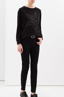 Stretch cotton printed sweatshirt, Black, hi-res