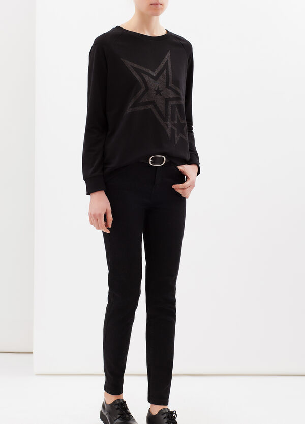 Stretch cotton printed sweatshirt | OVS