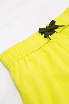 Solid colour swim boxer shorts with drawstring, Yellow, hi-res