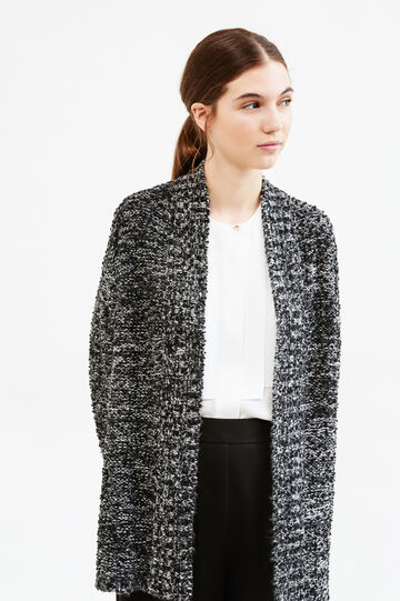 Knit mélange cardigan with pockets, White/Black, hi-res