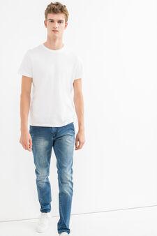 Used-effect slim-fit stretch jeans, Medium Wash, hi-res