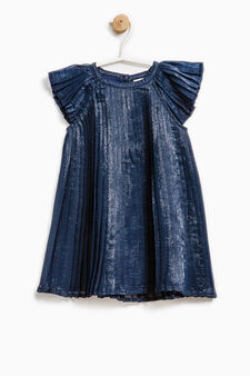 Solid colour pleated dress, Navy Blue, hi-res
