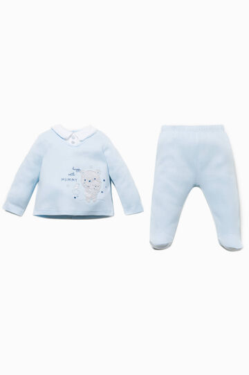 T-shirt and stretch baby leggings outfit, White/Light Blue, hi-res