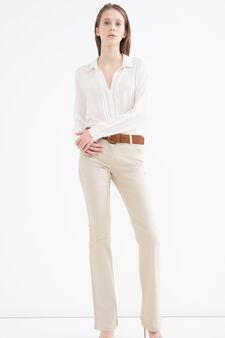 Jeans a zampa stretch tinta unita, Sabbia, hi-res
