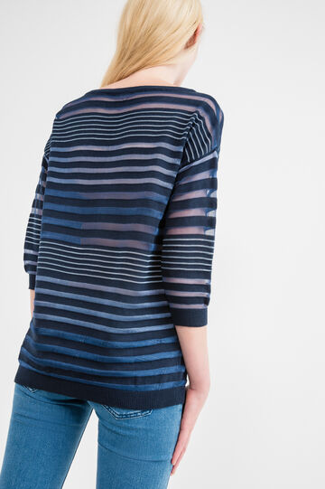 Long semi-sheer striped pullover, Blue/Light Blue, hi-res