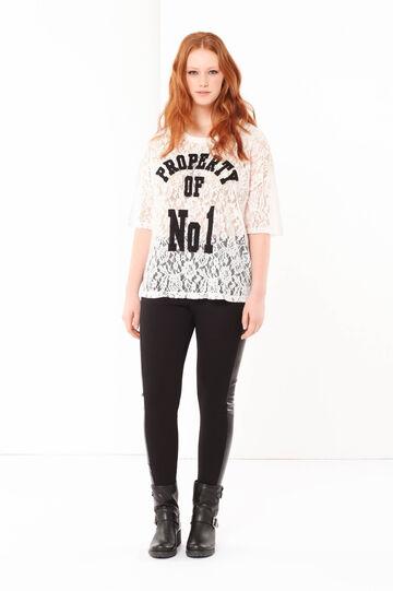 Curvyglam lace T-shirt, Cream White, hi-res