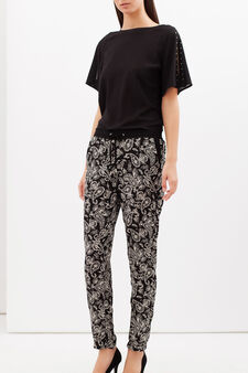 Patterned cigarette trousers, Black/Blue, hi-res
