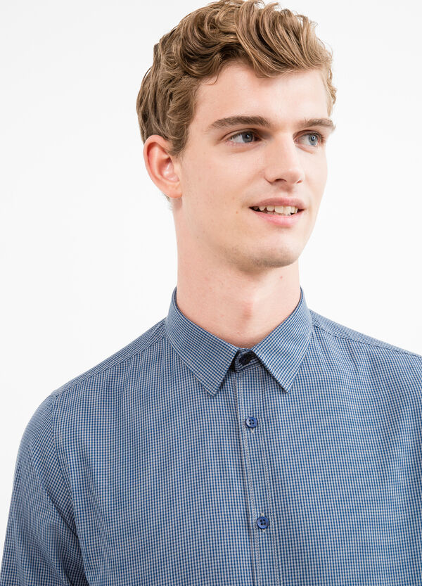 Slim-fit micro-check casual shirt | OVS