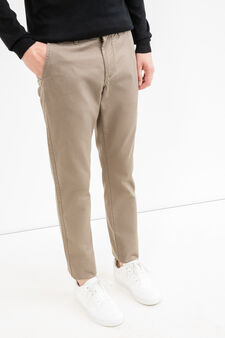 Solid colour regular-fit chino trousers, Dark Beige, hi-res
