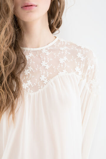 Solid colour embroidered blouse, Off-white, hi-res