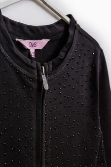 Diamanté sweatshirt in 100% cotton, Black, hi-res