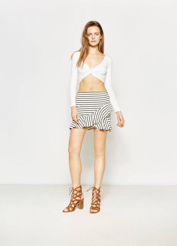 High-waisted skirt in flounce | OVS