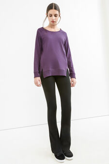 Solid colour T-shirt with side splits, Purple, hi-res