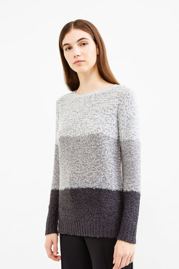 Striped pattern round neck pullover, Grey, hi-res