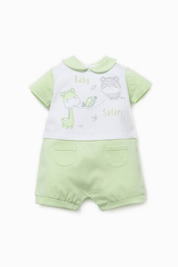 Two-tone romper suit with pockets, White/Green, hi-res
