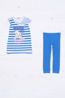 Completo in cotone t-shirt e leggings, Blu, hi-res