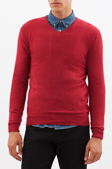 Pullover  con scollo a V, Rosso, hi-res