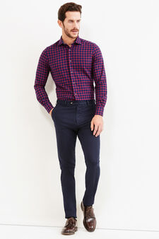 Slim-fit check Rumford shirt, Blue/Red, hi-res