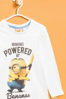 T-shirt cotone maxi stampa Minions, Bianco sporco, hi-res