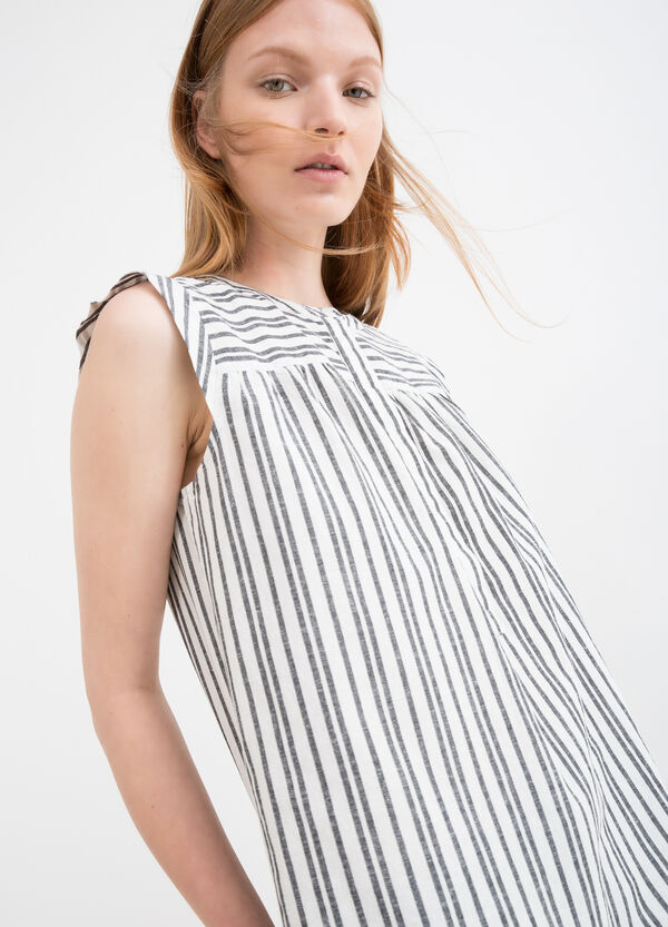 Striped patterned sleeveless blouse | OVS