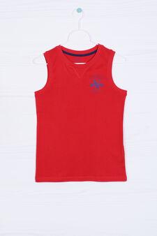 Solid colour 100% cotton vest, Red, hi-res
