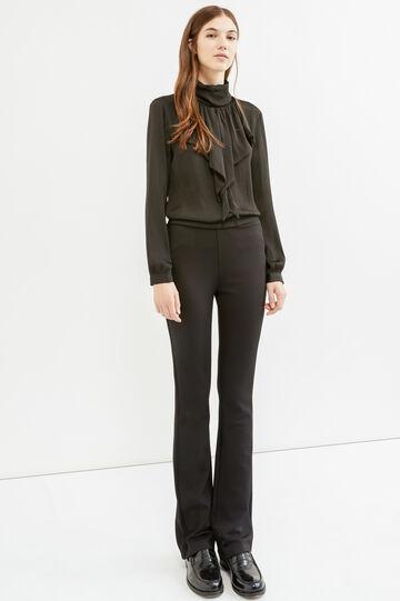 Pantaloni stretch zip laterale, Nero, hi-res