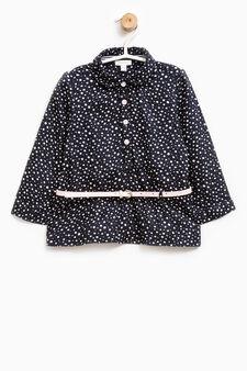 100% viscose patterned shirt, Navy Blue, hi-res