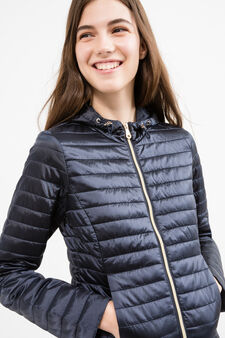 Lightweight down jacket with hood, Navy Blue, hi-res