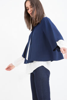 Three-quarter sleeve blazer., Blue, hi-res