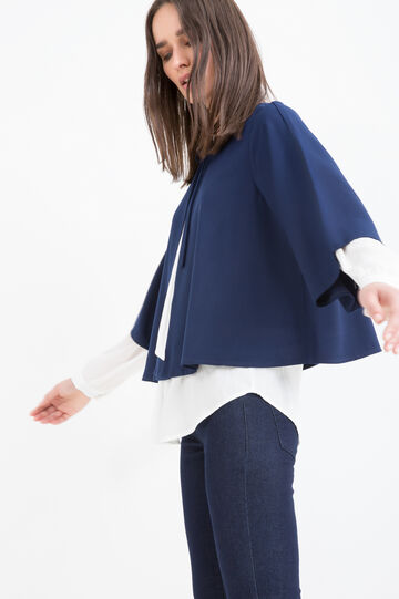 Three-quarter sleeve blazer., Blue, hi-res