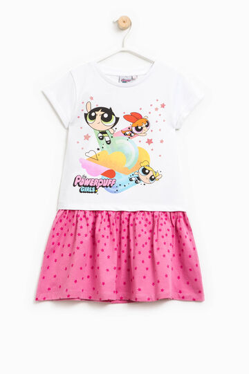 Dress with The Powerpuff Girls print, White/Pink, hi-res