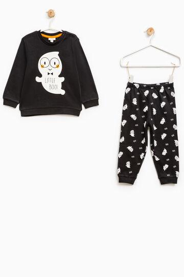 Ghost patterned cotton pyjamas, Black, hi-res