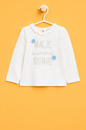 T-shirt with print and tulle flowers