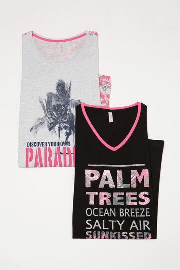Two-pack printed nightshirts, Black/Grey, hi-res