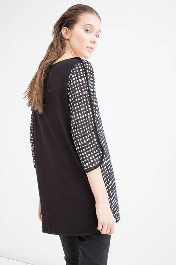 Roomy 100% viscose patterned T-shirt, Black/White, hi-res